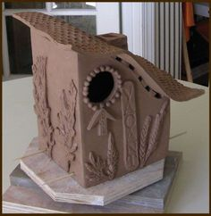 clay birdhouses | student's blue bird house build at Bosetti Art Tile's bird house …