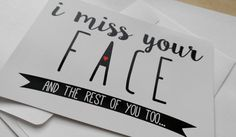 I Miss Your Face Love Card Romantic Card by on Etsy Corny Love Jokes, I Miss Your Face, Card Ideas, Gift Ideas, Romantic Cards, Love Cards, Stencils, Singing, Palette
