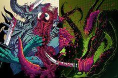 Action Panel Illustration 2 by Brock Hofer, via Behance Aliens, Hyper Beast, Visionary Art, Tattoo Inspiration, Metal Art, Apocalypse, Psychedelic, Art Reference, Fantasy Art