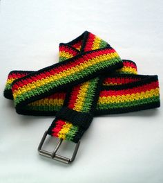 Rasta reggae belt, crochet accessories for men & women, rastafari clothing, reggae wear, Ethiopian colors, Caribbean clothing by MultiKultiCrafts