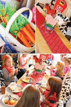 Sunny  Sweet Farm Animals Birthday Party. Love the carrot forks/napkins