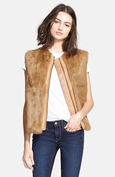 Vince Genuine Rabbit Fur & Leather Quilted Vest available at #Nordstrom