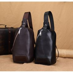 PU Leather Men Casual Crossbody Bag Outdoor Chest Bag - US$22.77