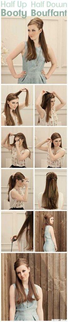 hair style half up-half down