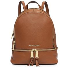 MICHAEL Michael Kors Rhea Zip Small Backpack (1656110 PYG) ❤ liked on Polyvore featuring bags, backpacks, zip bag, brown bag, backpack bags, brown backpack and zipper bag