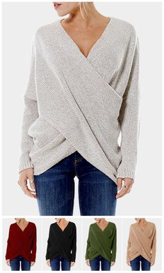 Cross Front V-neck Irregular Hem Jumper