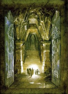 The Fellowship in Moria by Alan Lee. The Middle Earth in my head looks like Alan Lee paintings.