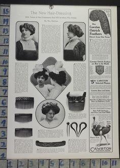 1908 FASHION HAIRDO HAIR DRESSING WINTER STYLE COMB RALSTON VINTAGE AD CJ72 | eBay