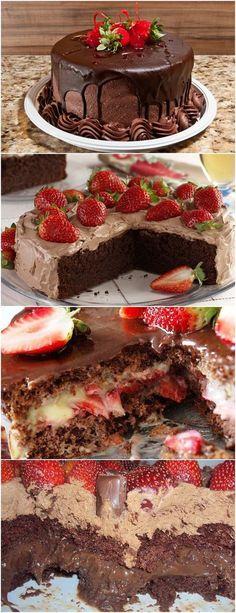BOLO DE CHOCOLATE COM RECHEIO DE MORANGO! Em uma panela, deposite leite condensado e misture com chocolate branco e manteiga. Cozinhe em fogo baixo. Transfira para uma tigela. Acrescente creme de leite batido e morangos picados. #receita#bolo#torta#doce#sobremesa#aniversario#pudim#mousse#pave#Cheesecake#chocolate#confeitaria Muffins, Birthday Cake, Sugar, Baking, Sweet, Desserts, Mousse, Cheesecake, Foods