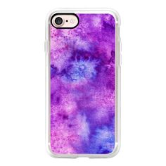 Colorful abstract space artistic purple pink watercolor - iPhone 7... ($40) ❤ liked on Polyvore featuring accessories, tech accessories, iphone case, iphone cover case, purple iphone case, pink iphone case, apple iphone case and iphone cases