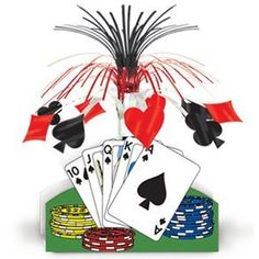"Poker Night Centerpiece by Century Novelty. $4.59. Casino Night Decorations Fit for Vegas! Make your Casino Night party feel like the real thing with great decorations like this Playing Card Centerpiece. Centerpiece is 15"" tall. Heart, spade, club and diamond shape cascade adornments. Make your Casino Night a hit with great casino night decorations. Your guests will feel like they are in the MGM Grand with party decorations like these. Part of Decorations > Cent..."