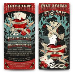 Wedding invitation cards wedding cards invitations individually personalized in rockabilly motif Wedding Invitation Templates, Wedding Invitations, Shower Invitations, Heavy Metal Wedding, Rocker Wedding, Pin Up Party, Love My Best Friend, Rockabilly Wedding, Rockabilly Style