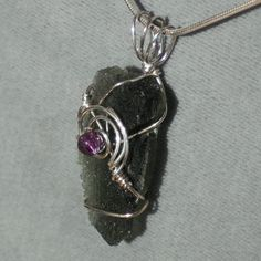 Moldavite Pendant in Sterling Silver by sirarascreations1 on Etsy