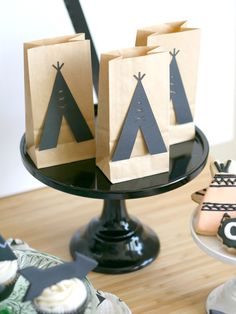 """DIY TeePee Favor Bags from A Modern """"Be Brave"""" Birthday Party Styled by Mint Event Design 
