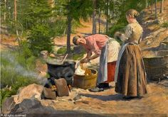 Paul Gustave Fischer (1860-1934): Skovparti med to unge kvinder der vasker toj, 1889