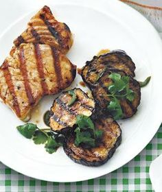 Halibut With Grilled Eggplant Salad recipe from realsimple.com #myplate #protein #vegetables