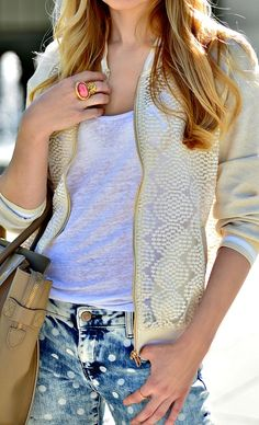 Street style with cream jacket over your basics