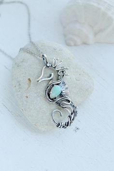 Seahorse silver neckalce with fire opal - Sterling silver jewelry - wire wrapped pendant - gift for women - ooak animal jewelry