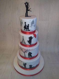 Maľovaný príbeh jednej lásky, svadobné torty, wedding cakes, Autorka: Blacksun, Tortyodmamy.sk