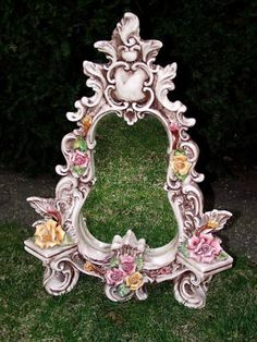 Elegant Capodimonte Italy Porcelain Victorian Style Rose Boudoir Mirror on Stand