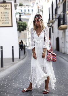 I am wearing a dreamful Zimmermann dress being an achievement from my collaboration with Net-A-Porter and the new vacation shop Ibiza Outfits, Hippie Outfits, Summer Outfits, Summer Dresses, Ibiza Look, Ibiza Dress, Boho Dress, Ibiza Party, Ibiza Fashion