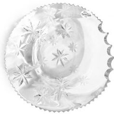 """Cointray Halfmoon/Night of San Lorenzo of Forme sul Cristallo Third piece of the series coin trays """"Creative Fantasy"""" made of crystal with shiny or matte manual engravings, depicting the stars in perspective of various sizes."""