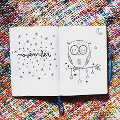 Novembre arrive à grand pas... Et la double page de mon bujo est prête  ce mois est spécial pour moi alors j'ai voulu poser sur le papier mon animal préfèré (après le panda roux  of course ). Le dessin n'est pas de moi mais je l'ai trouvé si mignon que je l'ai reproduit  le weekend commence, profitez bien mes ptits hiboux  #bujo #bulletjournal #bulletjournaling #bulletjournalcommunity #bulletjournaljunkies #mybujo #monthly #monthlybujo #november #blogger #frenchblogger #bujolove #b...