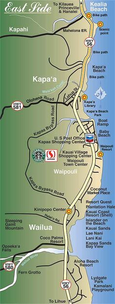 Kauai Eastside map - Sleeping Giant Mountain [Nawilwili] and valley (bottom of map) where my mother was raised! Kauai Vacation, Hawaii Honeymoon, Vacation Destinations, Tropical Vacations, Italy Vacation, Hawaii 2017, Visit Hawaii, Aloha Hawaii, Kapaa Kauai