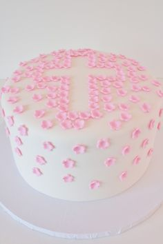 Pink Blossoms Cross Christening Cake New Jersey - instead of a cross.a heart for valentines day Christening Cake Designs, Christening Cakes, Girl Christening, Cross Cakes, Holy Communion Cakes, Confirmation Cakes, Cake Decorating Supplies, Novelty Cakes, Occasion Cakes