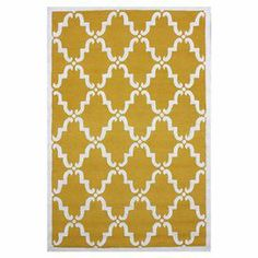 Wool rug in gold with a trellis motif. Hand-tufted in India.   Product: RugConstruction Material: WoolColor: GoldFeatures: Hand-tuftedNote: Please be aware that actual colors may vary from those shown on your screen. Accent rugs may also not show the entire pattern that the corresponding area rugs have.