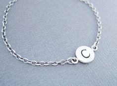 C Initial Bracelet Sterling Silver Initial Charm Bracelet
