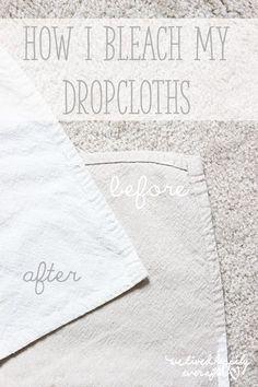 How to Bleach Drop Cloths! Drop Cloth Curtains, Diy Curtains, Hanging Curtains, Valance, Drop Cloth Slipcover, French Curtains, Yellow Curtains, Drop Cloth Tablecloth, Cloth Headboard