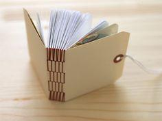 Long stitch binding on a mini book