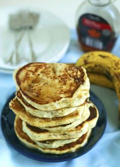 Delicious way to use your ripe bananas in these Gluten Free Dairy Free Banana Pancakes!