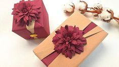 GIFT PACKING IDEAS   GIFT BOX WRAPPING with PAPER DAHLIA FLOWER DECORATION   I.Sasaki - YouTube Paper Flower Decor, Flower Decorations, Paper Flowers, Paper Dahlia, Dahlia Flower, Christmas Gift Wrapping, Christmas Crafts, Paper Crafts, Diy Crafts
