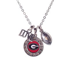 16 University of Georgia Bulldog necklace Georgia Bulldogs Football, Sick, Georgia Girls, Round Logo, University Of Georgia, Bling, Wife Memes, Accessories, Fresno State