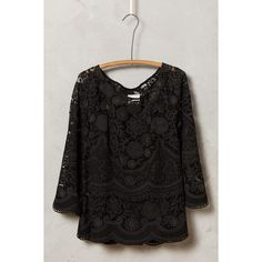 HD in Paris Montmartre Peasant Top (230 TND) ❤ liked on Polyvore featuring tops, black, lacy tops, black top, black lace top, sweater pullover and black pullover