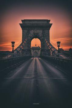 The Chain Bridge at dawn George Washington Bridge, Brooklyn Bridge, Dusk, My Photos, Sunrise, World, Photography, Travel, Chain