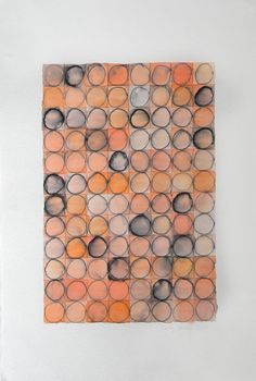 Abstract Geometric Art - Orange Circles - Watercolor Painting - 18 x 12 inches. $70.00, via Etsy.