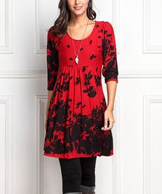 Red  amp  Black Floral Empire-Waist Tunic Dress aa83636c3119