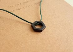 Black Hexagon Necklace, Tie Cord Necklace, Geometric, Minimal Necklace for Men and Women, Cord Necklace, Minimalist Men's Jewelry