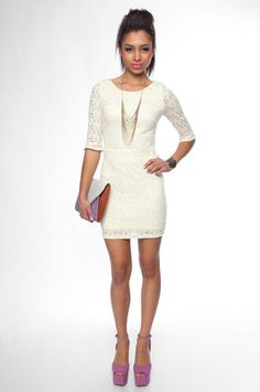 White Lace Dress. Cute for rehearsal or gettaway dress!?