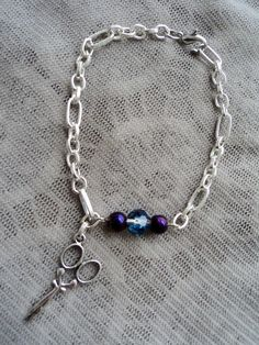 Blue and Purple Beaded Scissor Charm Bracelet by ShearStyleJewelry, $12.00
