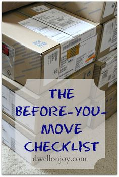 The Before-You-Move Checklist via Dwell On Joy. I feel like these are super obvious, but it's nice to see a check list for when it gets super stressful.