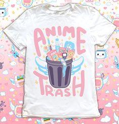 Anime Trash T-Shirt Magical Girl Kawaii Mahou Shoujo Harajuku Pastel Goth Angel Wing Japanese Cute Shirt Pocky Cosplay Video Game Shirt
