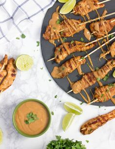 Grilled Thai Chicken Skewers with Peanut Sauce