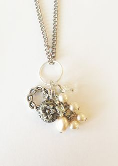 Upcycled Charm Necklace: Pearl, flower button, rhinestone and glass beads