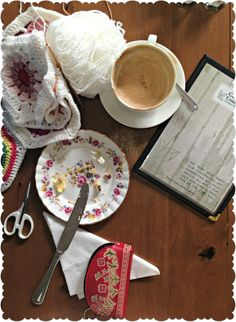 crochet, coffee, cake