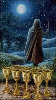 Decan degrees of Pisces) 8 of Cups The Pictorial Key Tarot by Davide Corsi ***Osmička pohárů*** Divine Tarot, Rider Waite Tarot, Tarot Card Meanings, Learn Art, Tarot Readers, Tarot Spreads, Oracle Cards, Tarot Decks, Archetypes