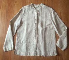 J Jill Small Tall ST 100% Beige Linen Blouse Long Sleeves Side Splits